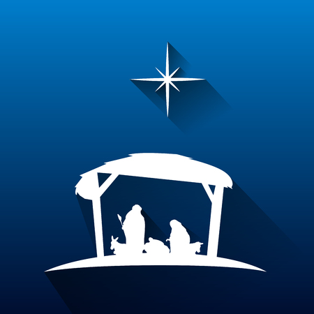 creche: Colored manger for christmas celebrations, Vector ilustration