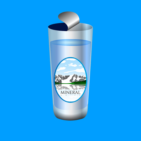 purify: Isolated glass of water on a blue background, Vector illustration