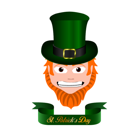 clover face: Isolated face of a traditional elf, Patricks day vector illustration