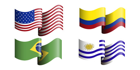 bandera de uruguay: Set of different flags on a white background, Vector illustration
