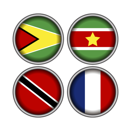 Set of different flags on badges, Vector illustration