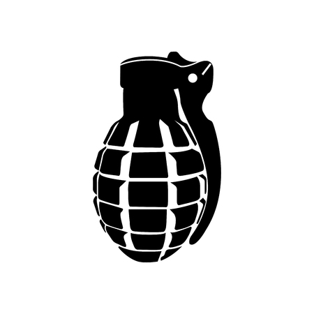 Isolated silhouette of a grenade, Vector illustration Illustration
