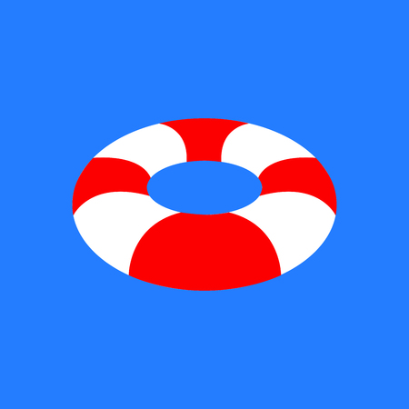 Isolated lifesaver icon on a blue background, Vector illustration