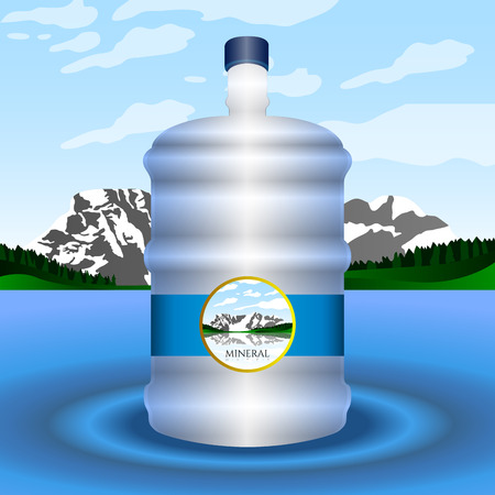 purified: Isolated bottle of water on a blue background, Vector illustration