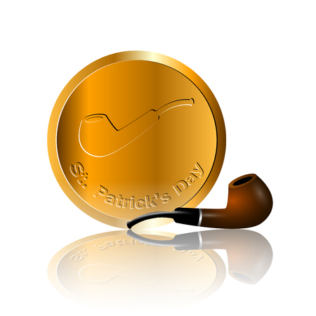 Isolated traditional golden coin and a smoking pipe, Patricks day vector illustration