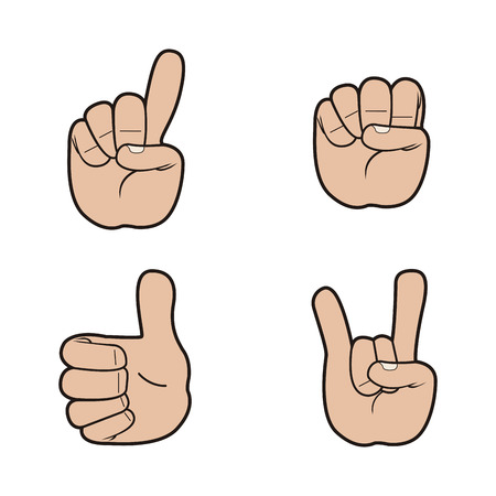 finger nails: Set of hand signals on a white background, Vector illustration