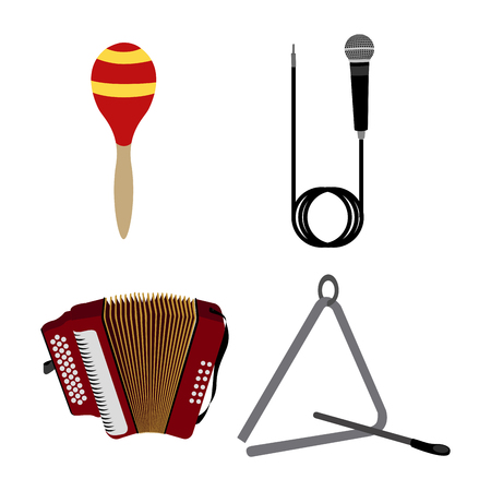 triangle musical instrument: Set of different musical instruments on a white background, Vector illustration Illustration