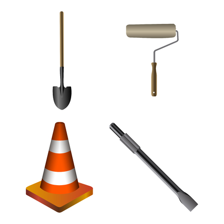 Set of construction icons on a white background, Vector illustration