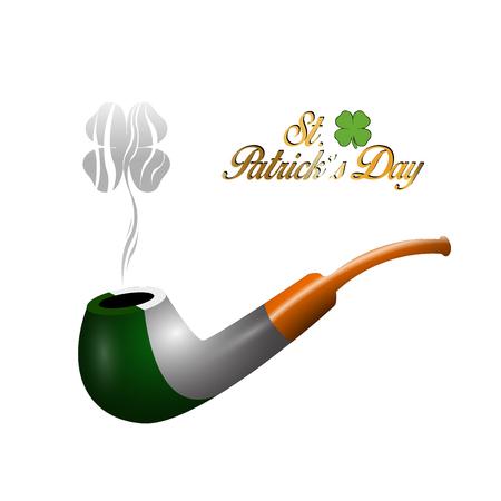 irish flag: Isolated traditional smoking pipe with the irish flag, Vector illustration