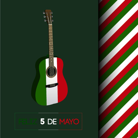 Isolated guitar with the mexican flag, Cinco de mayo vector illustration Illustration