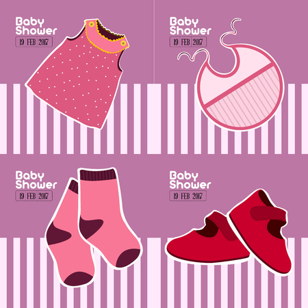 Set of colored baby shower graphic designs, Vector illustration