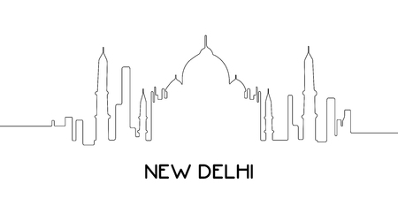 metropolis image: Isolated outline cityscape of New Delhi, Vector illustration