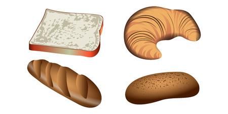 Set of bakery products on a white background, Vector illustration