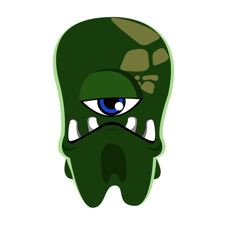 one eye: Isolated green monster with big teeth and one eye, Vector illustration
