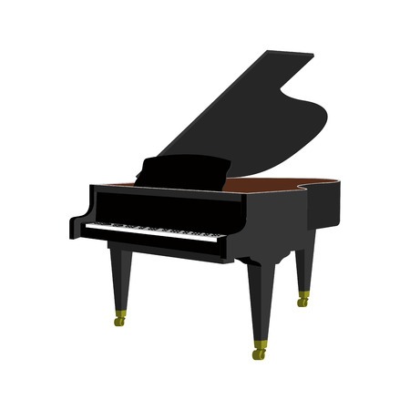 Isolated piano on a white background, Vector illustration