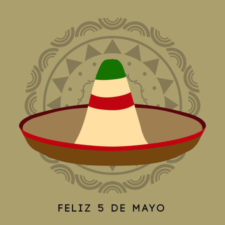 Colored background with a traditional hat, Cinco de mayo vector illustration