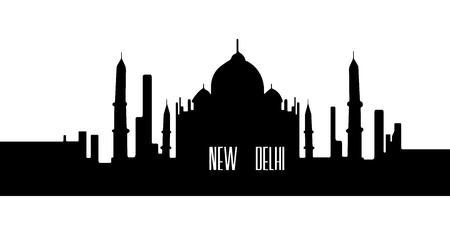 Isolated silhouette cityscape of New Delhi, Vector illustration Illustration