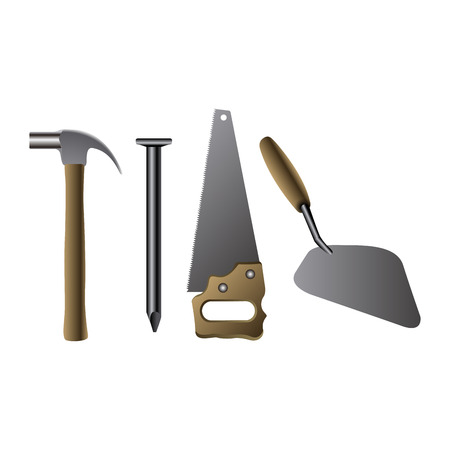 shove: Set of construction icons on a white background, Vector illustration
