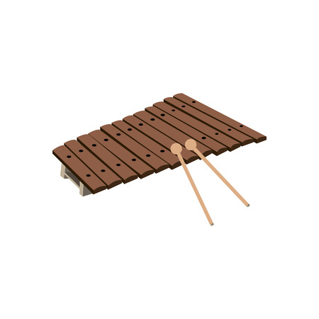 Isolated xylophone on a white background, Vector illustration