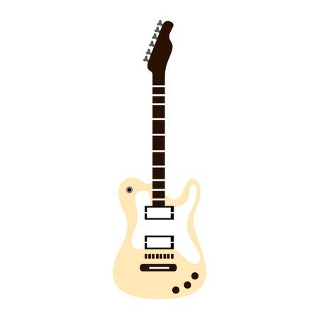 Chitarra elettrica isolata su una priorità bassa bianca, illustrazione di vettore