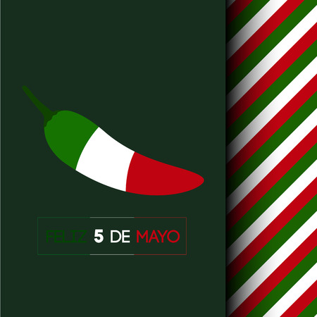 Isolated pepper with the mexican flag, Cinco de mayo vector illustration
