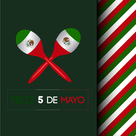 Isolated pair of maracas on a colored background, Cinco de mayo vector illustration