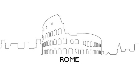 Isolated outline cityscape of Rome, Vector illustration Illusztráció