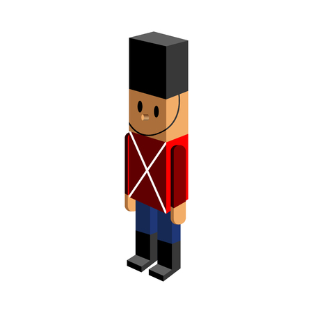 plastic soldier: Isolated nutcracker soldier on a white background, Vector illustration
