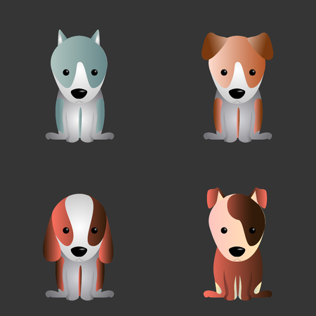 Set of cute dogs on a black background, Vector illustration