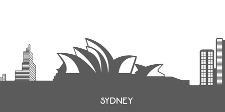 isolated on grey: Isolated grey cityscape of Sydney, Vector illustration Illustration