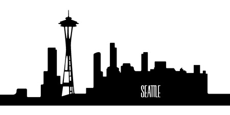 metropolis image: Isolated silhouette cityscape of Seattle, Vector illustration