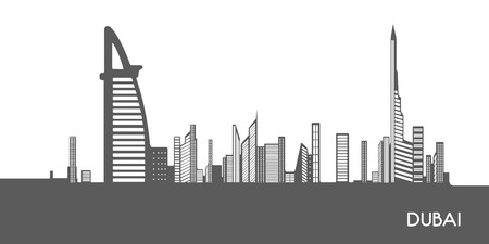 isolated on grey: Isolated grey cityscape of Dubai, Vector illustration
