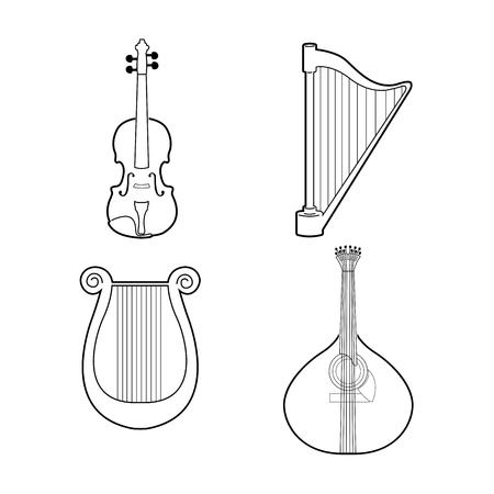 arpa: Conjunto de contornos de diferentes instrumentos musicales, ilustración Vectores