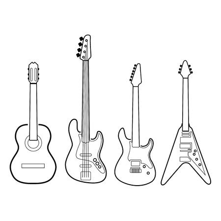Insieme dei contorni di diversi strumenti musicali, illustrazione