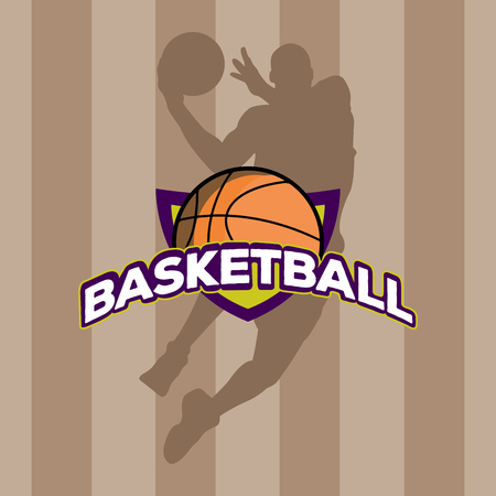 Isolated basketball emblem on a field background, Vector illustration