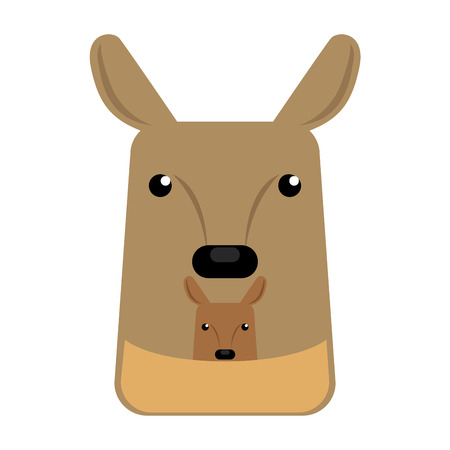 Isolated abstract kangaroo on a white background, Vector illustration Illustration