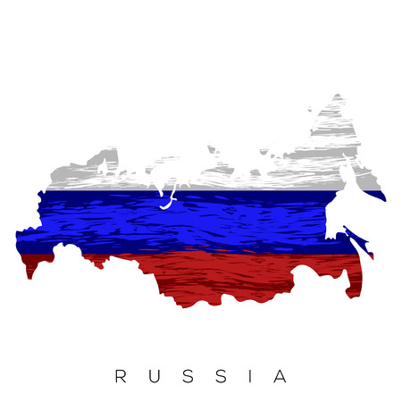 Isolated Russian map with its flag, Vector illustration