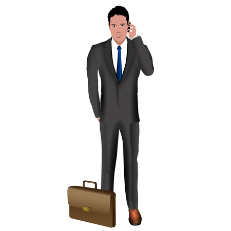Isolated businessman on a white background, Vector illustration