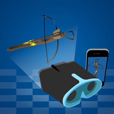 Isolated virtual reality gadgets and a crossbow, Vector illustration Illustration