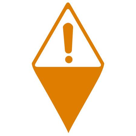 Pin de mapa aislado con un símbolo de admiración, ilustración vectorial Ilustración de vector