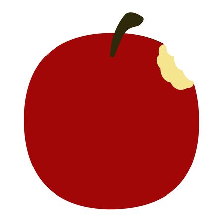 Isolated bitten apple on a white background, Vector illustration Illustration