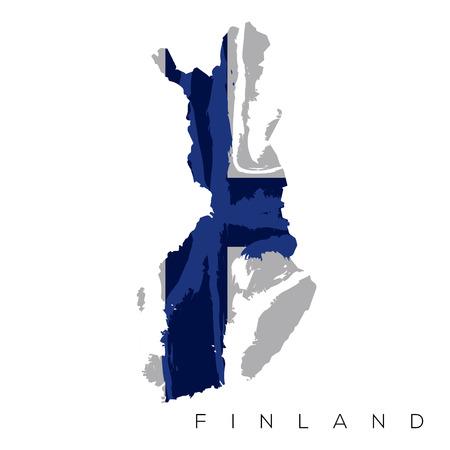 Lokalisierte finnische Karte mit seiner Flagge, Vektorillustration Vektorgrafik