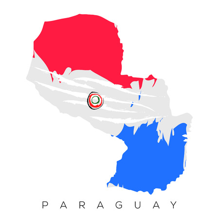 Isolated Paraguayan map with its flag, Vector illustration