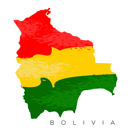 Isolated Bolivian map with its flag, Vector illustration