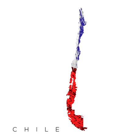 bandera chilena: Isolated Chilean map with its flag, Vector illustration