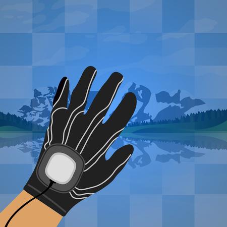 Geïsoleerde hand met een virtueel werkelijkheidsgadget op een scenario, Vectorillustratie