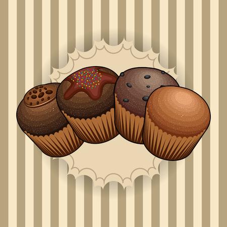 Satz von Bäckereimuffins auf einem Vintage-Hintergrund, Vektor-Illustration