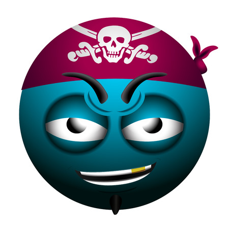 Isolated pirate emote on a white background, Vector illustration