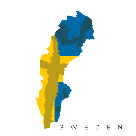 Isolated Swedish map with its flag, Vector illustration Illustration