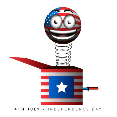 Isolated surprise box with the american flag, Independence day vector illustration Illustration